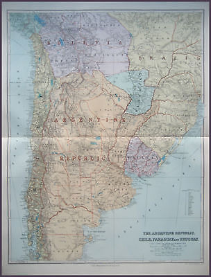 Argentina Chile Paraguay Uruguay Map Stanford 1904