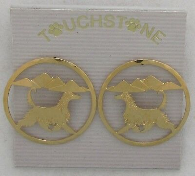 Afghan Hound Jewelry Gold Head Earrings by Touchstone Dog Designs