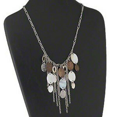 Art Deco Necklace 18 Inch Fringe Victorian Style Wood Shell Silver Chains