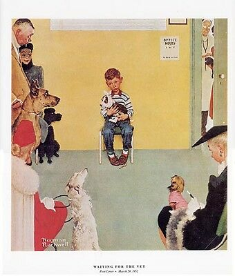 Norman Rockwell Boy And Dog Print WAITING FOR THE VET
