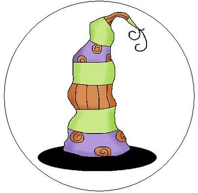 """~CUTE WITCHES HAT~ 1"""" Sticker / Seal Labels!"""