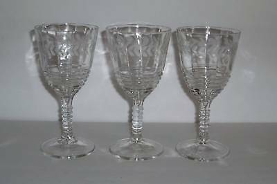3 Federal Glass 1930's Laurel Etch Ringed Stem Goblets