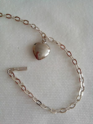 925 STERLING SILVER DIAMOND CUT CHAIN ANKLET,No7H, HEART CHARM