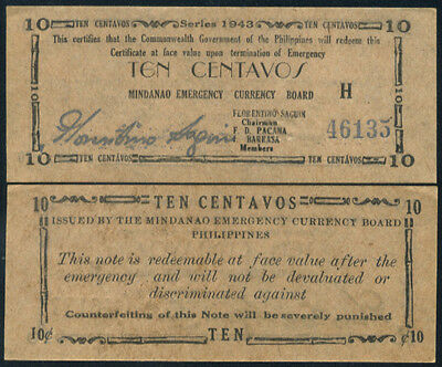 PHILIPPINES - 10  CENTAVOS 1943 XF/AU  P S482 Mindnao Circulated Banknotes