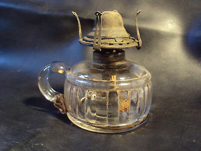 ANTIQUE GLASS Finger OIL LAMP Applied Handle late 1800s