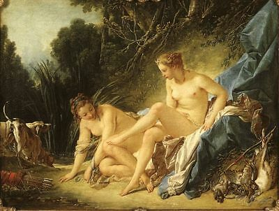 Francois Boucher Diana Leaving her Bath Painting repro