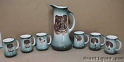 Antique 1920 TST Taylor Smith Taylor Ohio 7pc Set Pitcher & 6 Mugs Painted Dogs