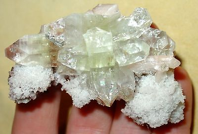 Green Apophyllite Crystal Cluster With Stilbite India