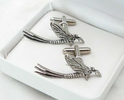 Mayfly Cufflinks in Fine English Pewter, insect