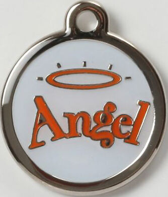 Color Filled Heavy Duty Angel Halo Pet Tag Free Us Ship