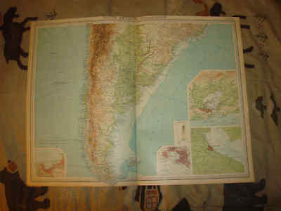 Huge Antique South America Argentina Buenos Aires Map N