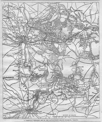 Civil War History 1864 Harper's Weekly Map Of Battle-Fields Around Richmond