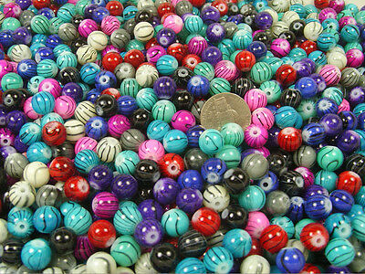 1 LB LOT 10MM ROUND MARBLE GLAZE LAMPWORK GLASS BEADS