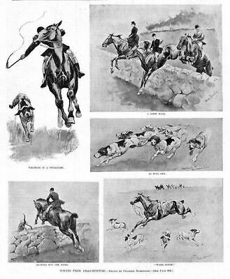 Foxhounds Drag-Hunting In Full Cry, Frederic Remington