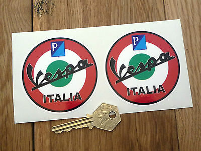 "VESPA PIAGGIO ITALIA Scooter Roundel STICKERS 3""Pair GS GT Mods LX Moped Helmet"