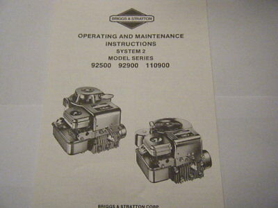 Briggs & Stratton Operating & Maintenance Instructions