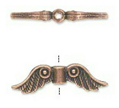 Copper Wing Bead Charms Angel Antiqued Victorian Steampunk 23x6mm  Lot of 20
