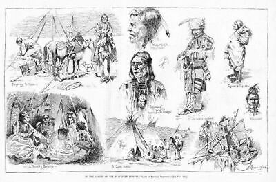 Frederic Remington Blackfeet Indian Lodges Teepee Chief Squaw Papoose Warrior
