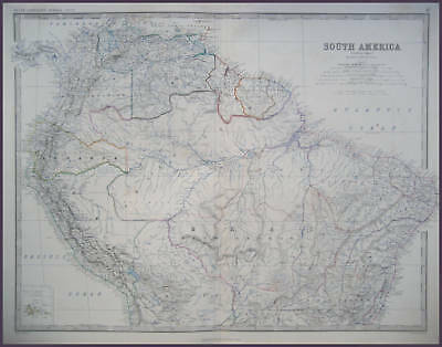 South America Genuine Johnston Antique Map 1865