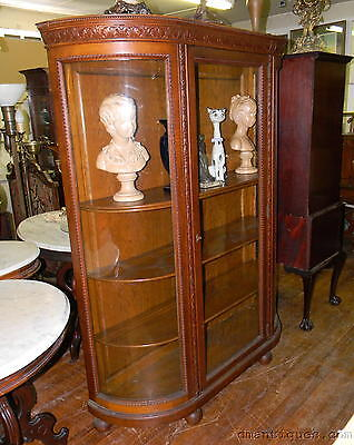 Antique Victorian Classic Carved Solid Oak Large China Curio Display Cabinet
