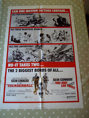 Thunderball You Only Live Twice James Bond Original Us 1 Sheet Poster 1970