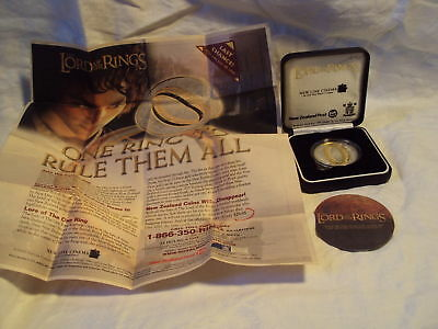 LORD Of The RINGS .925 SILVER COIN 2003 New Zealand Post NLP Gold ring