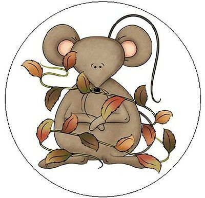 "~FALL MOUSE w/LEAVES~ 1"" Sticker / Seal Labels!"