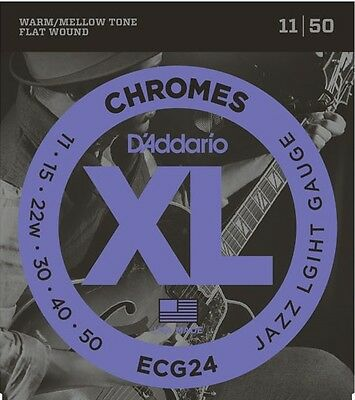 D'Addario ECG24 Flat Wound Chromes Custom Light Electric Guitar Strings 11-50