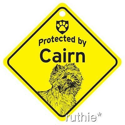 Protected by Cairn Terrier Dog Window Sign Made in USA