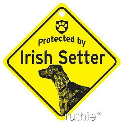 Protected by Irish Setter Dog Window Sign Made in USA