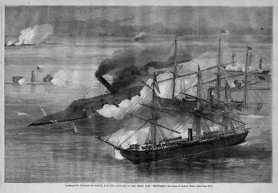 Civil War Naval Battle Farragut 1864 Mobile Bay Capture Of Rebel Ram Tennessee