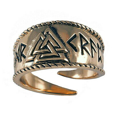 toller Valknut Ring Bronze 60-70 variabel einstellbar Wikingerring Wotansknoten