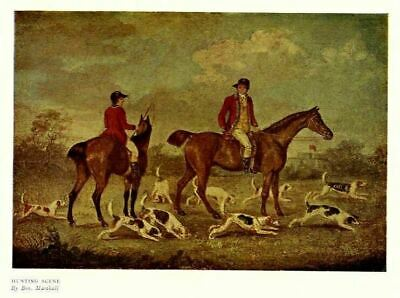 Foxhounds Horses Hunting Fox, Antique Color Print, Hunt