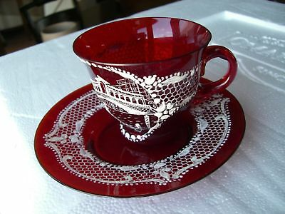 Gorgeous Old Ruby Red Hand Painted Scene Venetian Glass