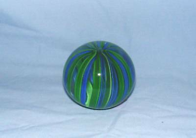 GLASS PAPERWEIGHT BLUE & GREEN STRIPES
