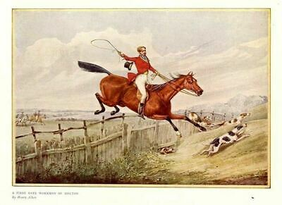Foxhounds Horses Hunting Fox, Antique Color Hunt Print