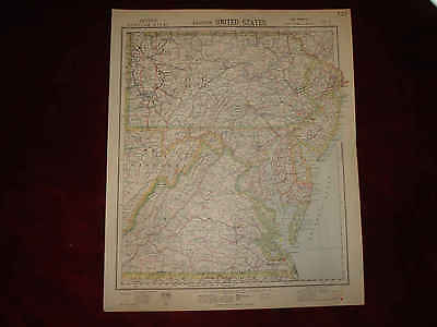 ANTIQUE NEW JERSEY MARYLAND WEST & VIRGINIA MAP SuperbN