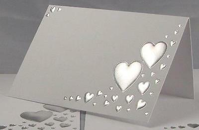 50 White And Silver Wedding Guest Party Name Table Place Cards Heart Embossed
