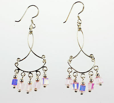 Sterling Silver CHANDELIER EARRINGS WITH PINK CRYSTALS