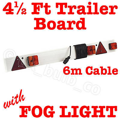 "4ft 6"" TRAILER LIGHT BOARD rear + FOG LIGHT + 6m cable"