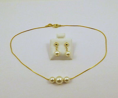 """Child's Gold-Filled Foxtail 12"""" Necklace-Earrings w/Cream Pearls"""
