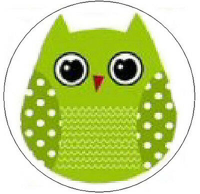 """CUTE GREEN OWL - 1"""" Round Labels Seals/Stickers"""