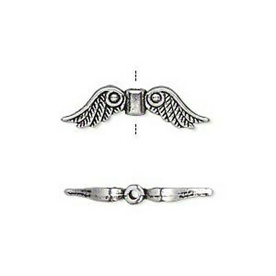 Silver Wings Beads Charms Steampunk Antiqued  Lot of 20