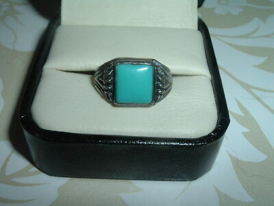 Vintage Turquoise & Sterling Silver Ring Sz 6.50 In Box
