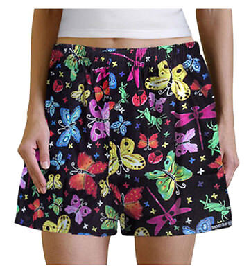 SUPER CUTE Bugs & Butterflies Ladies Boxers Size Med Butterfly Sleep Shorts