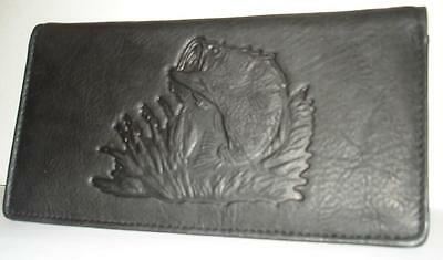 BASS Fish Hunting BLACK Wildlife Leather Checkbook NEW