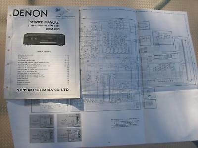 DENON DRM-600 CASSETTE DECK ORIGINAL FACTORY SERVICE MANUAL (my lot#327)