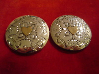 "Conchos: Pr. 2"" Sterling Hand Tooled w/ sm Brass Heart overlay"