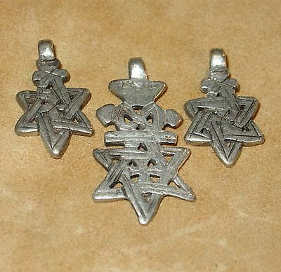 3 Ethiopian Star Of David Metal African Pendants From Ethiopia, Africa