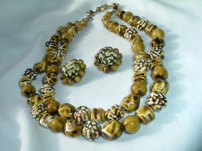 Vintage Green Celluloid Necklace & Earrings Set